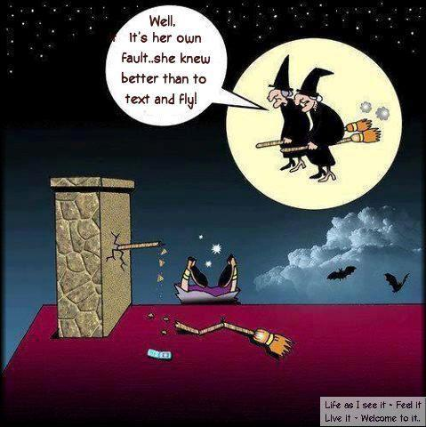 Safety tip for Halloween: Don't Text and Fly!