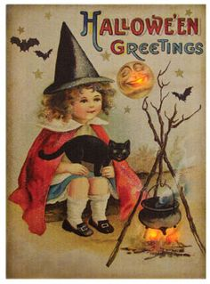 vintage halloween girl and cat