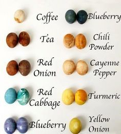Natural dyes for coloring eggs.