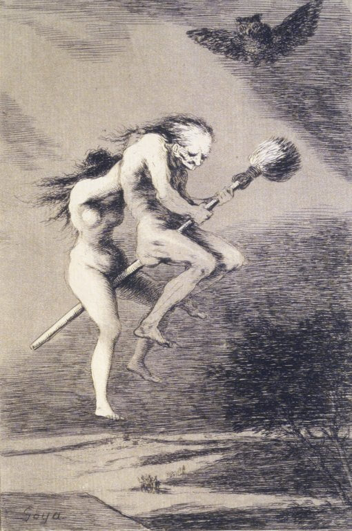 "Francisco Goya, ""Linda maestra!"" (1797-98), etching, aquatint, and drypoint on laid paper (via Brooklyn Museum/Wikimedia)"